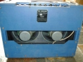 Vox AC15 Twin 1963 Custom Colour Light Blue, back met 12 inch Goodmans Economax alnico speakers 15 ohm.
