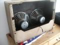 Vox AC15 Twin Fawn voorjaar 1962, 2x12 inch Grey Goodmans Fan Frame alnico speakers 8 ohm.