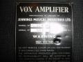 VOX AC30X 15 typeplaatje.