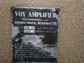 Vox AC30-4 Bass Fawn, Black Panel juli 1961,  typeplaatje.