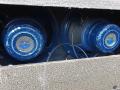 Vox AC30-4 Normal Fawn, Black Panel 1961, 3 lederen handvaten, brass vents, zicht op Blue Celestions T.530 speakers.