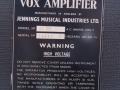 Vox AC 30/6 Bass, Red panel van aug 1964, basketweave, typeplaatje.