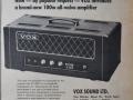 De eigen Birch-Stolec ontwikkeling Vox V100 1970-1973. Opvolger van de JMI Vox AC100. Vermogen 100w RMS 4, El34 eindbuizen en in de preamp slechts 2 ECC83.