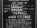 Typeplaatje Vox AC30TB overgangsmodel Stolec / Dallas tijdvak.