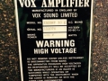 Typeplaatje Vox Escort 30 solid state, een Dallas transistor versterker.