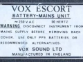 Typeplaatje Vox Escort Battery in Dallas uitvoering 1974-1979.