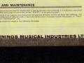 Vox Echo Instruction Manual, achterblad.
