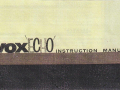 Vox Echo Instruction Manual, voorblad.