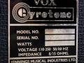 Vox Gyrotone MK2 Rotary cabinet 1967, typeplaatje.