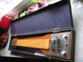 Hawaiin Steel Guitar 1964,  mahogany body , 6 snaren, 1 Vox pickup , controls, in original  case.