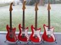 Serie vroege Vox gitaren in Fiesta Red.