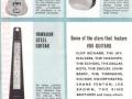"""Vox 1963 catalogue panel 4, met o.a. de Vox Hawaiian Steel gitaar en de Bouzouki 12 String Scort Scale die te horen is op het intro van Peter & Gordons """"World."""