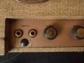 Vox AC4 JMI eind 1962, Champagne controlpanel, volume, speed Round black Ribbed Gold insert controls.