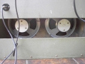 Vox Domino Normal Twin. Piggy back instapversie met 2x10 inch Celestion 7442 16 ohm ceramic speakers.