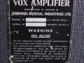 Typeplaatje Vox AC30 TB oktober 1965, Grey Panel,