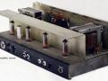 1966- Vox 730 hybride open chassis, solid state preamp, diode gelijkrichter en eindtrap 1xECC83 en 4xEL84, 30 watt RMS.
