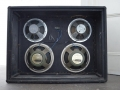 1966- Vox 760 hybride (half) open cabinet met 2x12 inch 12GM 25 watt replace en originele 2x10 inch CT7442 ceramic Celestion speakers.