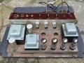 Woden (MU= dec 1963) Mainstrafo 72191, Outputtrafo 72191 en (liggende) Choke 72193 in vroege AC100 met diode gelijkrichter.