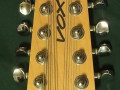 Mini XII 12 string Sunburst made by North Coast Music USA 1998-2001, headstock front.