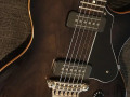 SSC 55-SS  Semi Solid Single Cutaway Trans Black 2011 Korea, Alu Max Connect bridge, Twin CoAxe pickups, body front.