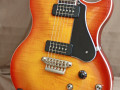 SSC 55 Solid Single Cutaway Siennaburst Flame Maple 2011 Korea, Alu Max Connect bridge, Twin CoAxe pickups, body front.