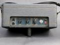 Vox Escort Battery in Rose Morris uitvoering 1979-1983. Dark grey panel met gouden belijning. Normal en Brilliant Channel, Volume en tonecontrol. Supply selector Battery/Off/Mains. Dallas productie.
