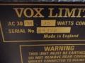 Typeplaatje Vox AC30 TBR 1989, Audio Factors uitvoering,