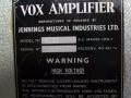 Typeplaatje Vox Metal Clad PA 50/4 versterker.