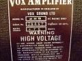 Vox AC30 TB VSEL laat model 1970, VSL typeplaatje met 50-60 herz aanduiding.