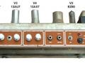Vox Echo Reverberation Unit 1964, buizenchassis met EZ80 gelijkrichter (V2), 2x ECC83 (V1 en V4)  en 1xECC82 (V3).
