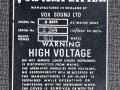 1967- Vox Dynamic Bass Amp, VSL typeplaatje head.
