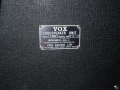 1967- Vox Foundation Bass, VSL typeplaatje cabinet.
