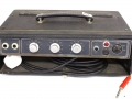 Back Vox MT60 head MKIIIa basversterker Solid State, eind 1964, Grey panel, alu knoppen, 2 vents, gold piping. 1 kanaal, 2 inputs, controls volume, bas en treble. Dome voltageselector. 30-40 watt RMS afhankelijk van cabinet