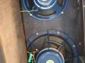 T60 3e cabinet sept 1963 met Celestion Vox label speakers Azure Blue 15 inch T900 4 Ohm en 12 inch T.727 15 Ohm(= Blue 8 ohm T.530 maar dan 15 ohm).