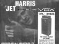 Vox T60 JMI advertentie met Jet Harris die het prototype kreeg na zijn vertrek bij The Shadows. 19 versies T60 en 10 circuitmodificaties van 1962-1968.