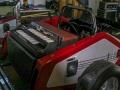 The Vox Mobile Vox Super Continental Organ in de koffer, Vox Phantom gitaren op de flanken.