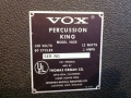Vox Percussion King V829, typeplaatje.