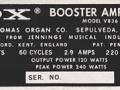 1967- Vox V836 Booster amp typeplaatje.