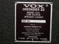 Vox V121 GrenadierXII PA speakers 80 watt typeplaatje.