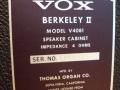 1966- Vox Berkeley V4081 oval open cabinet 4 ohm van Berkeley V1081 II typeplaatje