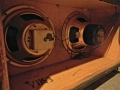 Vox 1967-1968- Vox Viscount V1153-V1154, open back Oxford Gold Bulldog 12 inch 16 ohm Alnico speakers, 1 speakerdeksel eraf.