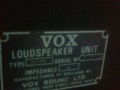 1967- Vox Defiant VSL typeplaatje cabinet.