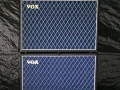 2002-2006 Vox AD120VTH Slant head (2x60 watt) en 2xAD212 Stack (USA) plywood cabinets waarin 2 Neodog 80 watt 12 inch speakers met lichtgewicht neodymium magneet. VC12 Footcontrol.