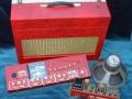 Watkins Joker versterker uit 1961 met ingebouwde buizen Copicat 25 watt 1x12 inch Goodmans Audiom speaker, front.