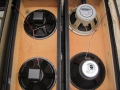 WEM 2x12 PA cabinets, open back, links met 2x10 inch Peerless en rechts 2x 12 inch Rola Celestion G12 speakers.