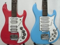 Rapiers 44, links 1964 model met Watkins label, Toaster pickups en Hilo tremolo en rechts 1968 model met Wilson label en Wilson tremolo.